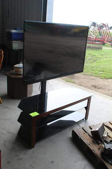 """INSIGNIA 55"""" FLATSCREEN TV ON TV STAND, SOLD WITH YAMAHA SURROUND SOUND SYSTEM, SPEAKERS,"""