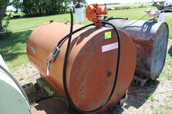 500 GALLON FUEL TANK, USED FOR CLEAR DIESEL, AO SMITH PUMP, AUTO NOZZLE, 110 VOLT