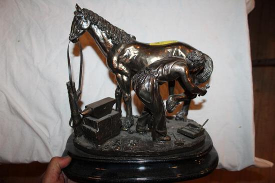"""Ferrier & Horse Sculpture on base, by rosa 2002, 12""""hx12"""""""