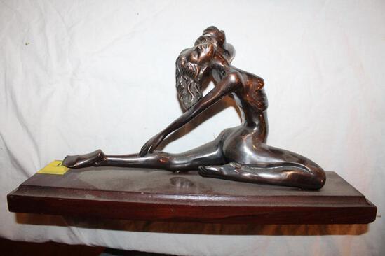 "Naked Woman Brass Sculpture on Wood Base, 10""hx18"""