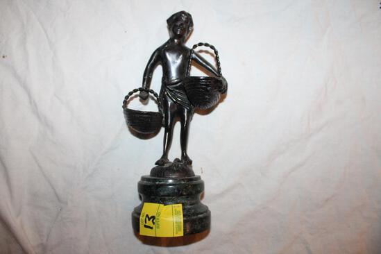 "Basket Girl Sculpture, on stone base , 11""hx5"""