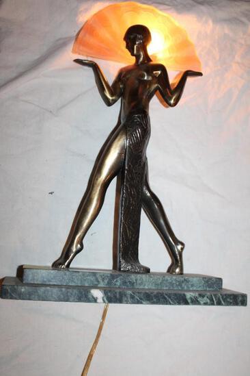 "Brass Woman holding glass fan,, on stone base, backlit lamp, works, 19""hx13"""