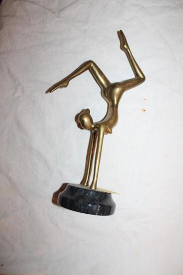 "Gymnast Woman Brass Sculpture On Stone Base, 12"""