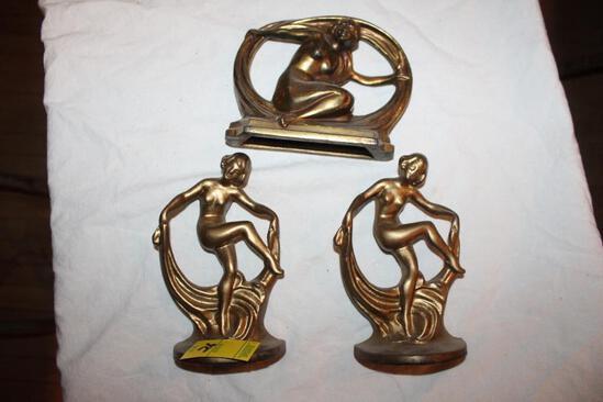 """(3) Naked Woman Sculptures, Metal, 7"""""""