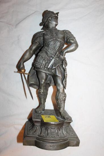 """Roman Warrior Sculpture, Metal, 16"""""""