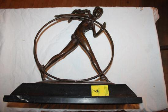 """Naked Woman Rolling Hoop Sculpture on Base, 17""""hx16"""""""