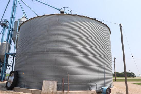 "Behlen 42'8"" Dia Grain Bin, 7 Ring, 23' Eave, (3) Roof Vents, Electric 110v Grain Spreader,"