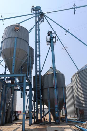"Approx 80"" Grain Leg, Approx 2500 BPH, 8 Hole Distributor, Downspouts to Bins 1,2,3,4,5, both"