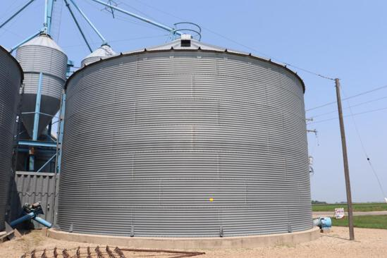 "Behlen 42'8"" Dia Grain Bin, 7 Ring, 23' Eave, (3) Roof Vents, Electric 110v Grain Spreader, Ladder,"