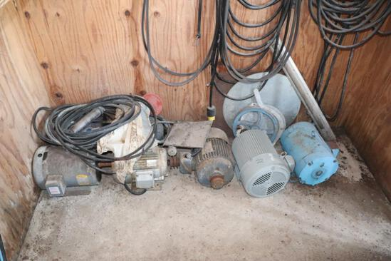 (7) 3 Ph Elec Motors, Various Sizes, Belts, 3Ph Cords