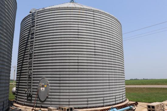 "Behlen 34'4"" Diameter Grain Bin, 6 Ring, 22'7"" Eave, (2) Roof Vents, Cone Spreader, Ladder,"