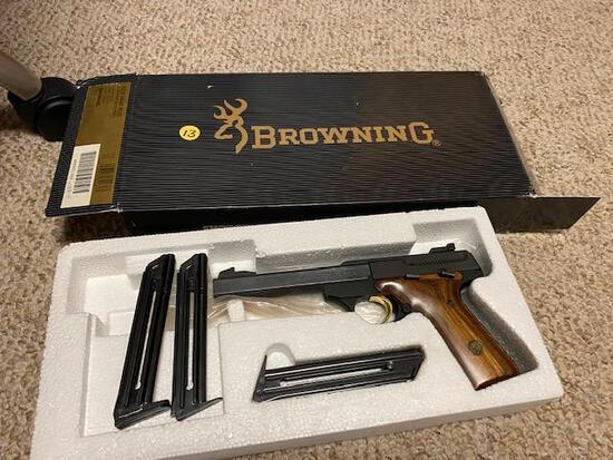 "BROWNING 22 LONG RIFLE HAND GUN, SEMI AUTO, 5.5"" BULL, WOOD GRIPS, GOLD TRIGGER, 3 CLIPS,"