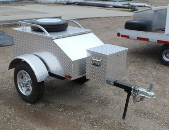 """28 1/2"""" X 46"""" TWO WHEEL MOTORCYCLE TRAILER, WITH APPROX 12"""" X 16"""" DIAMOND PLATE ALUM BOX,"""
