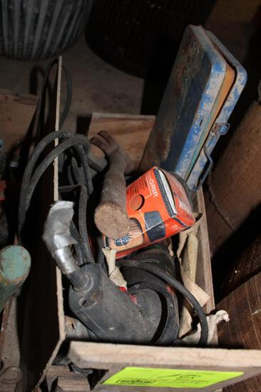 ELECTIC DRILL, HAND TOOLS, MISC LIGHTS, (3) BOXES