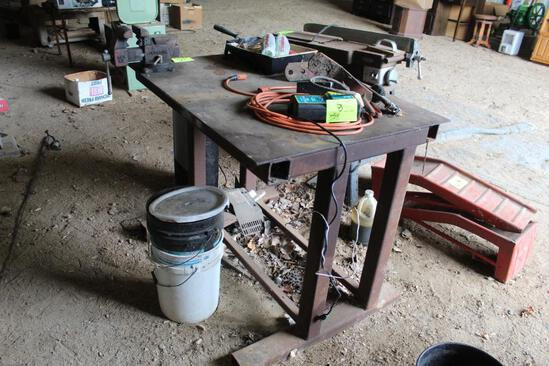 """33""""X44"""" STEEL WORK/WELDING TABLE, WITH 4"""" VISE"""
