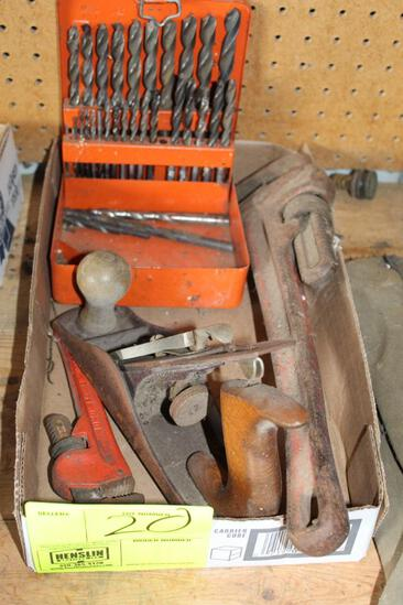 DRILL BITS, BLOCK PLANE, PIPE WRENCH