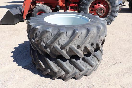 Pair of 20.8R38 Tractor Duals, on 10 Bolt Rims, Gray