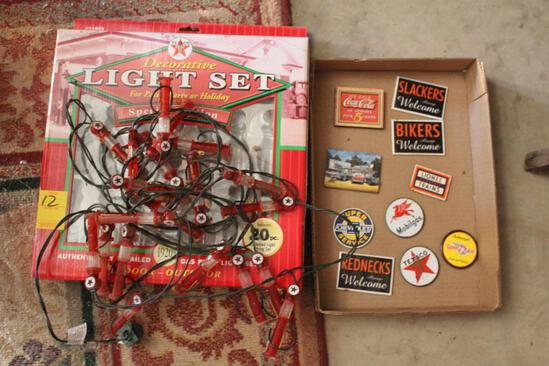 Texaco Decorative Lights with Box, Various Gas and Auto Magnets