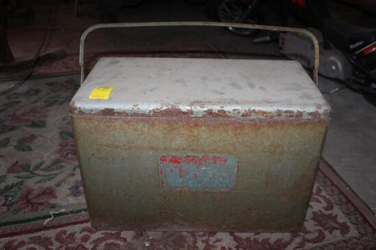 Antique Metal Cooler, has rust on it