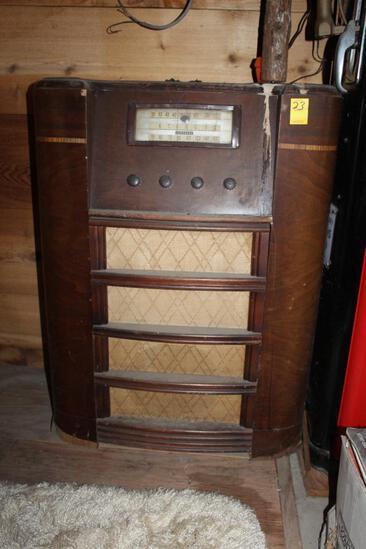 Coronado Wooden Radio, Floor Model, Untested, Water Damage