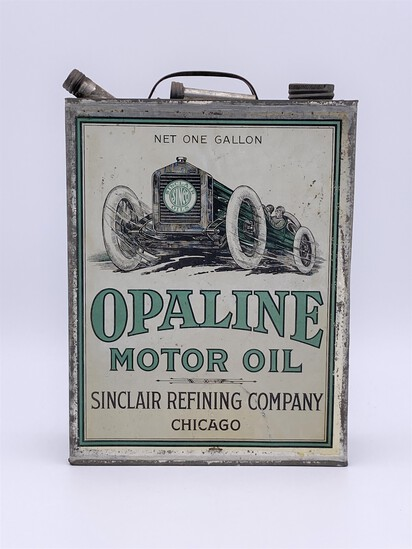Sinclair Opaline Motor Oil w/ Early Race Car Logo 1 Gallon Flat Can Circa 1920's TAC 8.25