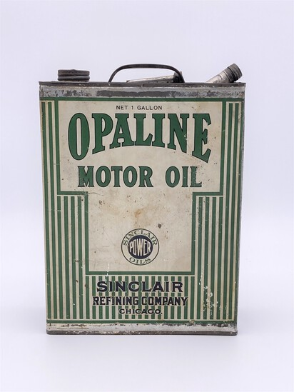 Sinclair Opaline Motor Oil Power Oil 1 Gallon Flat Can Circa 1920's TAC 7.5