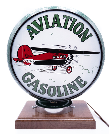 Aviation Gasoline w/ Airplane Logo Single Lens Gill Globe TAC 8.9