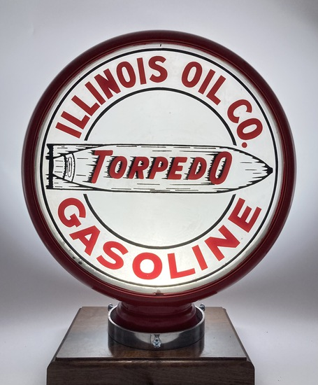 Illinois Oil Co Torpedo Gasoline Single Lens Globe Body
