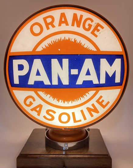 "Orange Pan-Am Gasoline Complete Globe Body 15"" Lenses"