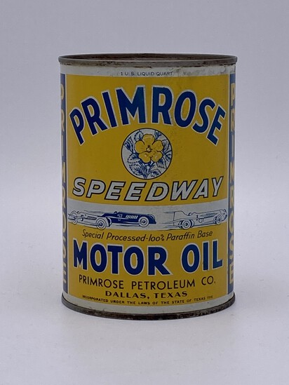 Full 1 Quart Can Primrose Speedway Motor Oil TAC 8.0