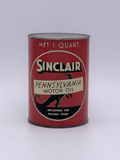 Sinclair Pennsylvania Motor Oil w/ Standing Dino Logo 1 Quart Can TAC 8+ Circa 1940's