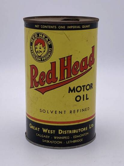Red Head Motor Oil Imperial 1 Quart Metal Can TAC 8