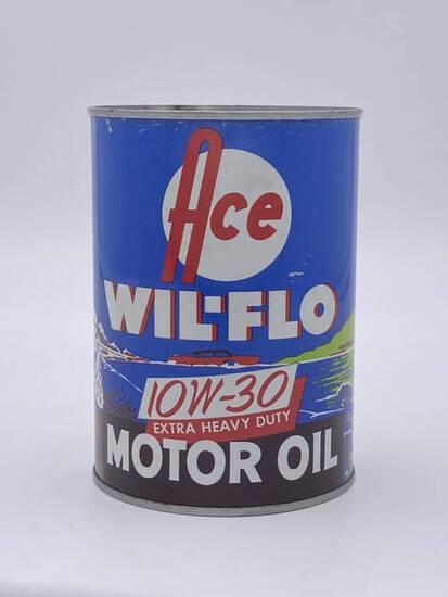 Ace Wil-Flo Motor Oil 1 Quart Metal Can TAC 9 & 8