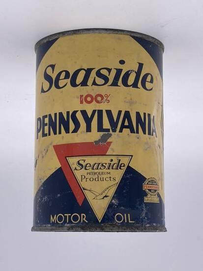 Seaside Pennsylvania Motor Oil 1 Quart Metal Can TAC 6.5