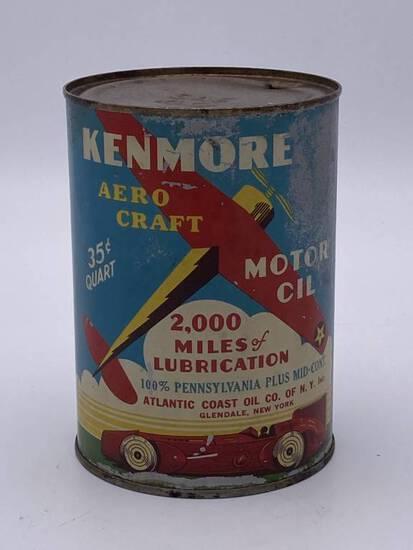 Kenmore Aero Craft Motor Oil 1 Quart Metal Can TAC 7.5