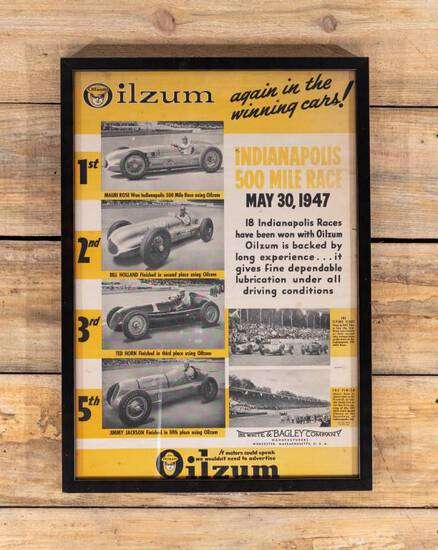 1947 Oilzum Indianapolis 500 Framed Paper Poster