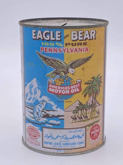Eagle & Bear Motor Oil 1 Quart Metal Can TAC 8.25