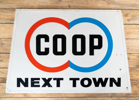 Co-op COOP Next Town w/ Double Circle Logo Single Sided Embossed Metal Sign TAC 8.25