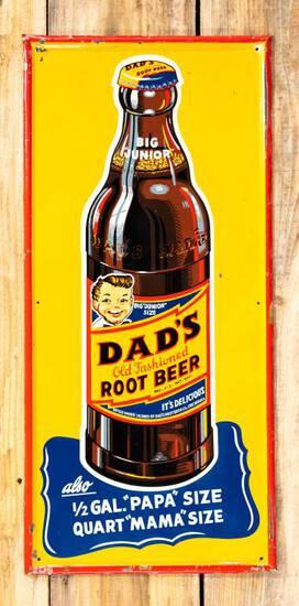 "Dad's Root Beer ""Big Junior"" Single Sided Embossed Metal Sign TAC 8.25"