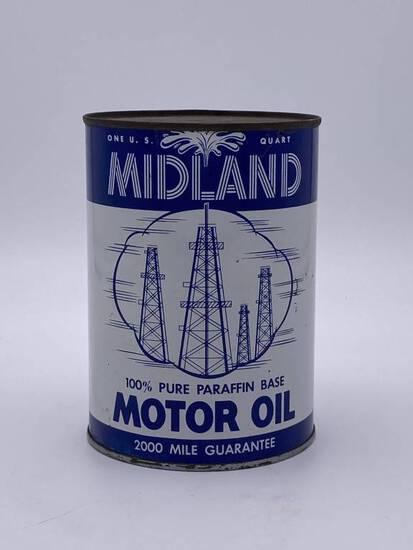 Midland Motor Oil w/ Derrick Logo 1 Quart Metal Can TAC 9