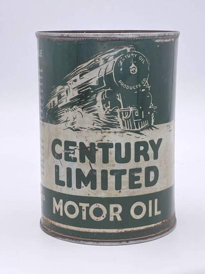 Century Limited Motor Oil w/ Locomotive 1 Quart Metal Can TAC 7.75 & 6