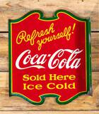 Coca-Cola Refresh Yourself! Double Sided Porcelain Flange Sign TAC 9 & 8.9