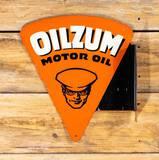 1953 Oilzum Motor Oil w/ Logo Metal Diecut Flange Sign TAC 7.75