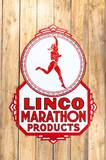 Linco/Marathon Products w/ Runner Logo Double Sided Porcelain Sign TAC 8.75 & 8.25