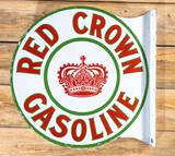 Red Crown Gasoline w/ Crown Logo (Sohio) Double Sided Porcelain Diecut Flange Sign TAC 9.5