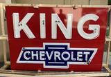 NOS King Chevrolet Single Sided Porcelain Neon Sign 9.25