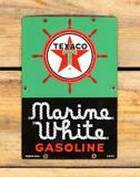 Texaco White-T Marine White Gasoline Small Size Porcelain Sign TAC 9.75