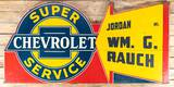 Super Chevrolet Service Jordan Wm. G. Rauch Single Sided Metal Sign TAC 8.25