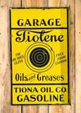 Tiolene Oils and Greases Garage Tiona Oil Co. Porcelain  Flange Sign TAC 8.5