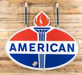 NOS American Double Sided Porcelain ID Sign & Metal Frame w/ Original Shipping Label TAC 9.75